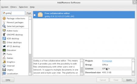 Instalace aplikace Gobby pomocí grafického instalačního programu (Fedora 15)