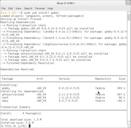 Instalace aplikace Gobby zpříkazového řádku (Fedora 15)
