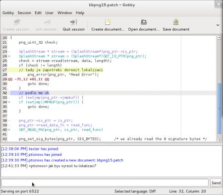 Souběžná práce dvou uživatelů nad textovým souborem obsahujícím záplatu (patch). Každý uživatel změnil jeden řádek patche, což se projevilo odlišnou barvou pozadí.