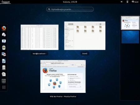 GNOME Shell ve verzi 3.8 chytře přeskupuje okna tak, aby byl co nejlépe využit prostor Dashe