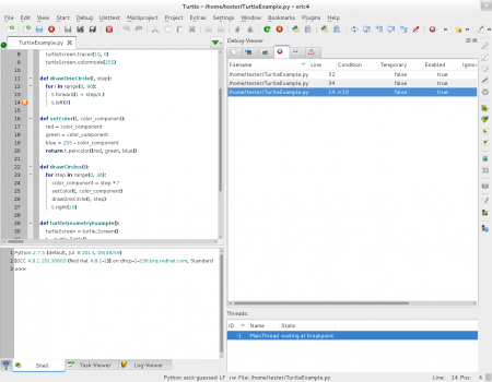 Obrázek 3: Ukázka některých možností specializovaného integrovaného vývojového prostředí Eric určeného pro jazyky Python a Ruby. Zde je konkrétně vpravé části screenshotu zobrazeno okno se seznamem breakpointů, zněhož je patrné, že jsou podporovány i breakpointy spodmínkou.