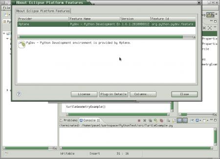 Obrázek 4: Vývojové prostředí PyDev je založeno na již popsaném univerzálním prostředí Eclipse.