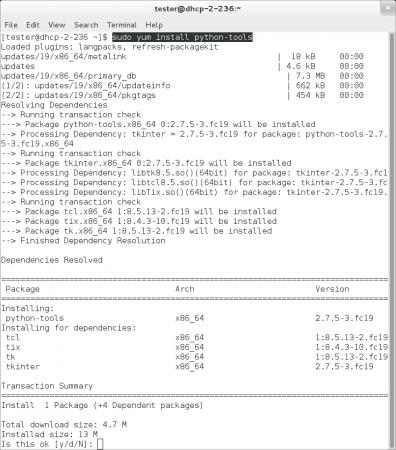 """Obrázek 7: Integrované vývojové prostředí IDLE se vsystému Fedora instaluje zbalíčku nazvaného """"python-tools"""". Jak je ztohoto screenshotu patrné, nainstaluje se společně sprostředím IDLE i interpret programovacího jazyka Tcl a taktéž knihovny Tk a Tkinter. Žádné další závislosti není zapotřebí řešit, na rozdíl od dále popsaného IDE Eric, které závisí na knihovně Qt."""