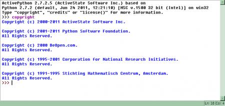 Obrázek 8: Prostředí IDLE ve variantě pro operační systémy Microsoft Windows; konkrétně se jedná o IDLE nainstalované vrámci ActivePythonu. Možnosti IDLE ve Windows jsou prakticky stejné jako vLinuxu.
