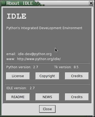 Obrázek 9: Dialog se základními informacemi o integrovaném vývojovém prostředí IDLE. Kromě aktuálně využívané verze Pythonu je zde zobrazena i verze knihovny Tk využívané knihovnou (modulem) Tkinter.