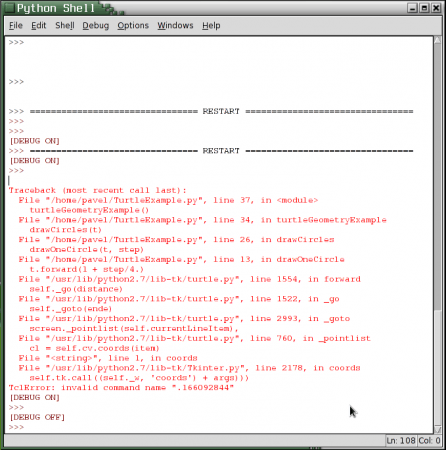 Obrázek 11: Okno Python Shellu.