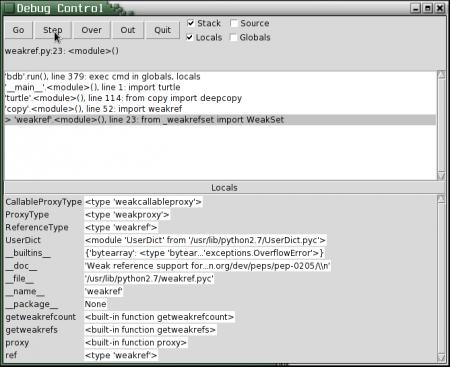 Obrázek 17: Další screenshot integrovaného debuggeru.