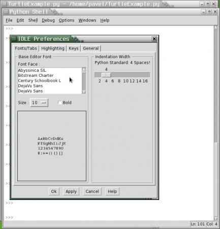 Obrázek 18: Výběr fontu použitého vtextovém editoru a nastavení způsobu odsazování textu vsamostatném dialogu.
