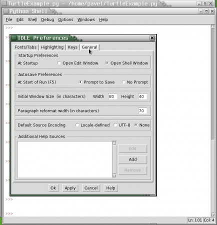 Obrázek 19: Nastavení parametrů integrovaného vývojového prostředí IDLE vsamostatném dialogu.