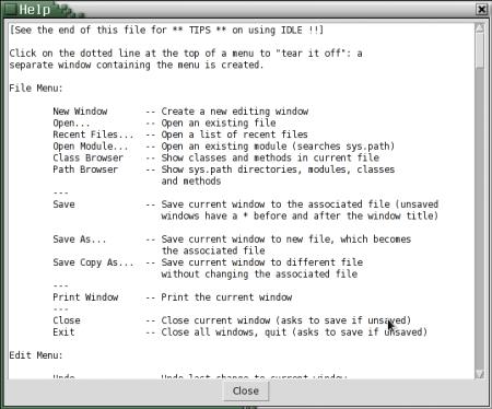Obrázek 20: Nápověda vintegrovaném vývojovém prostředí IDLE je skutečně velmi jednoduchá, dokonce ani není podporováno vyhledávání (což je zajímavé, protože pro Tcl/Tk existuje komponenta/widget implementující jednoduchý prohlížeč HTML stránek, který by zde bylo možné využít).