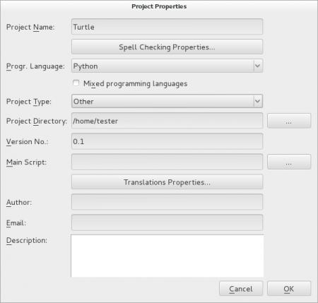 Obrázek 24: Vytvoření nového projektu. Nejdůležitějším údajem, který je zde nutné vyplnit, je programovací jazyk použitý vprojektu. Od tohoto nastavení se odvíjí i další možnosti, které Eric uživatelům nabídne ihned po vytvoření projektu.