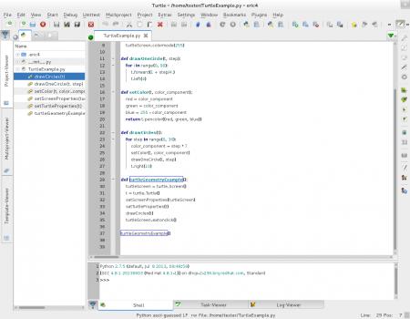 Obrázek 25: Správce projektů je implicitně zobrazen vlevé části okna Erica. Největší část plochy okna je vyhrazena programátorskému editoru a ve spodní části můžeme vidět konzoli sběžícím interpretrem Pythonu.