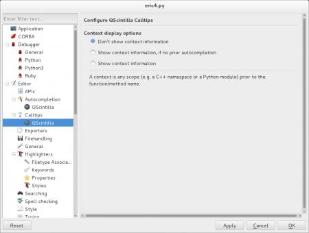 Obrázek 26: Nastavení vlastností programátorského editoru je rozděleno do několika kategorií.