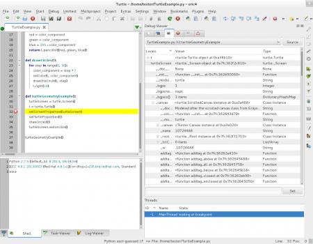 Obrázek 28: Ladění programů vintegrovaném debuggeru. Vlevé části okna můžeme vidět nastavený breakpoint, včásti pravé pak seznam lokálních symbolů a především záložky sdalšími formuláři.