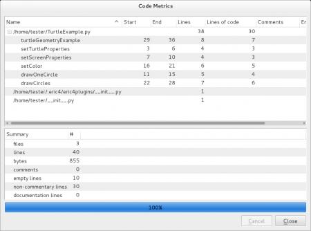 Obrázek 30: Plugin pro analýzu zdrojových kódů. Jak je ztohoto screenshotu patrné, učitelé by mě za tento demonstrační příklad nepochválili, protože neobsahuje žádné komentáře :-)