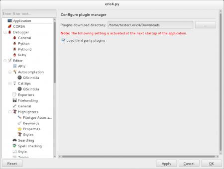 """Obrázek 31: Nastavení správce zásuvných modulů. Pluginy je možné instalovat buď přes správce balíčků (ve Fedoře """"yum""""), popř.lze pluginy získat i zjiných zdrojů."""