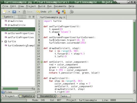 Obrázek 35: Integrované vývojové prostředí Anjuta, které jsme si již vtomto seriálu popsali (viz též první díl tohoto seriálu), lze velmi snadno upravit pro potřeby vývoje vPythonu.