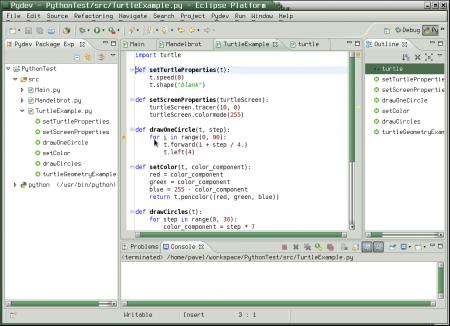 Obrázek 37: Testovací příklad otevřený jako nový projekt vintegrovaném vývojovém prostředí PyDev.