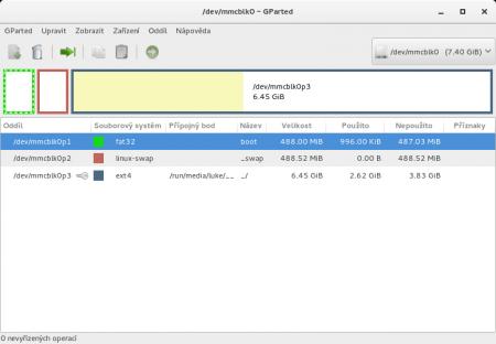 GParted a úprava oddílů na SD kartě
