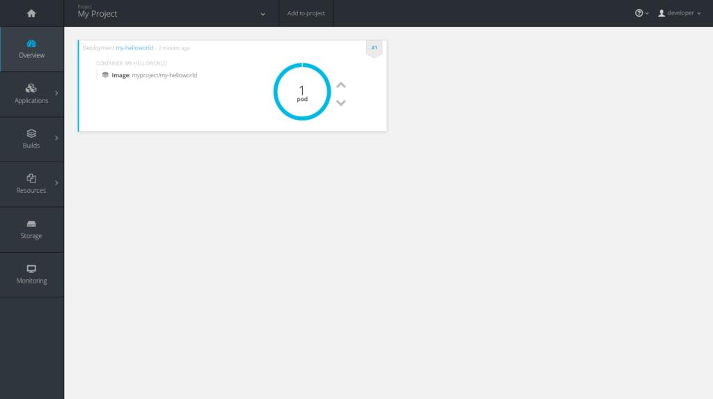 OpenShift hlavní stránka aplikace