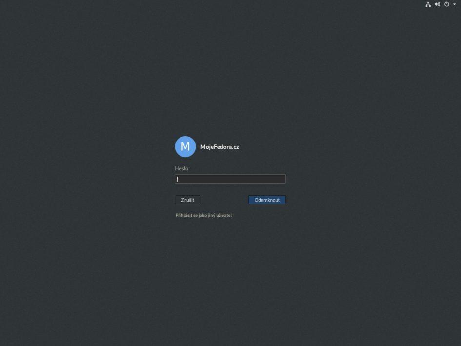 Přihlašovací obrazovka GDM